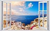 DesFoli Urlaub Meer Santorin Griechenland 3D Look Wandtattoo 70 x 115 cm Wanddurchbruch Wandbild Sticker Aufkleber F271