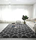 Hochflor Teppich wohnzimmerteppich Langflor - Teppiche für Wohnzimmer flauschig Shaggy Schlafzimmer Bettvorleger Outdoor Carpet (120 x 160 cm, Grau mit marokkanisches Muster)