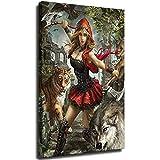 Weiblicher Krieger-Malset, Stichstich, rund, Strass, Basteln, Urlaub, Geschenke, ohne Rahmen, 20 x 30 cm