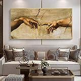 Die Erschaffung Adams von Michelangelo Berühmte Leinwand Malerei Hand zu Hand Poster und Drucke Wandkunst Bilder Wohnkultur 40x80cm Rahmenlos