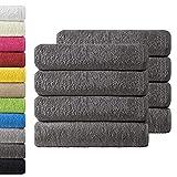NatureMark 8X Handtücher, 100% Baumwolle, anthrazit grau, 8er Pack 50x100cm, 8