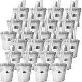 Hängetopf Metall 24er Set Blumentopf Hängend Balkon Hängetopf Zink-Topf Mit Henkel Blumentopf Hängend Blumentöpfe Zum Aufhängen Kräuter Pflanztopf Balkongeländer Hanging Flower Pot