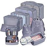 Bteng Packwürfel Set 9-teilige, Multifunktionale Koffer Organizer Set Wasserdichte Packing Cubes, Kofferorganizer, Kleidertaschen, Schuhbeutel, Kosmetiktasche, Ordnungssystem für Urlaub, Reisen (Grau)