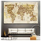 ZFLSGWZ Weltkarte Poster Kunstdrucke Kinderzimmer Dekor Klassische Aquarellkarte Charakter Portrait Leinwand Gemälde für Wohnzimmer Wandkunst 60 x 90 cm ohne Rahmen