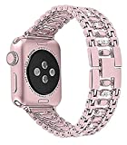 Metallbänder kompatibel mit Apple Watch 38 mm 40 mm 42 mm 44 mm Edelstahlarmband Ersatzarmband Armband Sport weich atmungsaktiv für iWatch Serie 6/SE/5/4/3/2/1 für Damen Herren Mädchen Jungen, Rose G