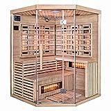 Home Deluxe – Infrarotkabine – Sahara XXL – Vollspektrumstrahler – Holz: Hemlocktanne - Maße: 150 x 150 x 200 cm – inkl. vielen Extras und komplettem Zubehö
