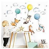 Little Deco Aufkleber Babyzimmer Tiere & Luftballons I Wandbild 144 x 85 cm (BxH) I Waschbär Fuchs Sterne Maus Wandtattoo Kinderzimmer Junge Mint DL508