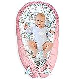 Babynest Kokon Neugeborene - Handmade Kuschelnest Baby Nestchen aus Baumwolle mit Oeko-Tex Zertifikat Rosa-Schmetterling
