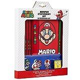 Super Mario Schreibwaren Set, Notizbuch A5 und A6 mit Radiergummi, Kinder Etui Schule und Buntstifte Set, Teen Federtasche Set, Geschenke für Kinder