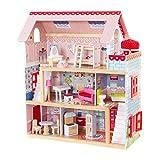 KidKraft 65054 Puppenhaus Chelsea aus Holz mit Möbeln und Zubehör, Spielset mit drei Spielebenen für 30 cm große Puppen