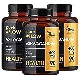 3x 3Flow Solutions PureFlow Ashwagandha   400mg hochdosiert   90 Kapseln je Beälter (270 Stück insg.)   Withania Somnifera Extrakt Indischer Ginseng Schafbeere   Nahrungsergänzungsmittel (3er Pack)