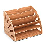 Lesfit Dokumentenablage Papierablage Holz, Ablage Schreibtisch Organizer für Akten, Papier, Document, Brief (5 fächer)