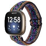 MEFEO Elastische Bänder kompatibel mit Fitbit Versa 3 / Fitbit Sense, verstellbares weiches Stretch-Armband für Fitbit Versa 3 & Fitbit Sense (Aztec Style Blue)