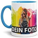 Tasse selbst individuell gestalten/Personalisierbar mit eigenem Foto Bedrucken/Fototasse/Motivtasse/Werbetasse/Firmentasse mit Logo/Innen & Henkel Hellblau