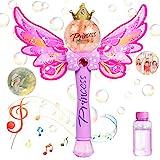 WolinTek Zauberstab Seifenblasenmaschine mit Musik & Licht für Mädchen Kinder, Bubble Toys,Magic Wand Bubble mit Seifenblasen Flüssigkeit,Bubble Machine für Partys Geburtstag Geschenk