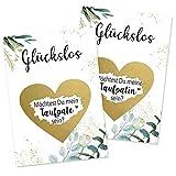 2er Set Rubbelkarte Taufpatin und Taufpate Fragen Karte mit Rubbelherz Gold Geschenke Geschenkideen für die Pateneltern Paten zur Taufe