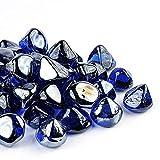 Chilli Cosmos Feuerglas Diamond 2,5 cm Feuerstelle Glas Stein für Propangas oder Gas-Feuerstelle (4,5 kg Koabltblau) Geschenkpaket