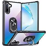 DOSNTO für Samsung Galaxy Note 10 Hülle Handyhülle, Klare Stoßfeste Fallschutz Silikon Schutzhülle Transparente TPU, mit 360 Drehbarem Magnetischem Ring Ständer, Schwarz