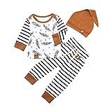 Neugeborene Baby Mädchen Junge Bekleidungsset Feder T-Shirt Tops Gestreifte Hosen Kleidung Outfits Set, Weiß, 0-6 Monate