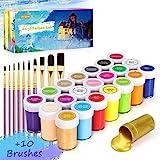 Gifort Acrylfarben Set mit 10 Pinsel, 21 Farb-Pigmenten je 20 ml, Acrylfarben auf Wasserbasis für Steine, Holz, Papier und Leinwand, Acryl Farben Set für Kinder, Erwachsene, Bastler,Profis