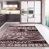 VIMODA Teppich Coffee Kaffee in Beige mit Schriften für die Cafe Lounge Küche oder Wohnzimmer, Maße:120x170 cm