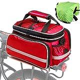 Fahrrad GepäCktasche Mit Regen-Abdeckung Fahrradpacktaschen Multifunction Fahrradtasche GepäCkträGer FüR Mountainbike Rennrad Faltrad red,Free Size