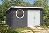 Alpholz Gartenhaus Maria-Rondo B aus Massiv-Holz   Gerätehaus mit 44 mm Wandstärke   Garten Holzhaus mit Imprägnierung (pinie)   Geräteschuppen Größe: 400 x 300 cm   Pultdach