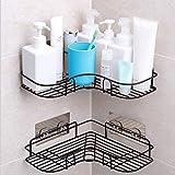 Duschregal Eckregal, Duschorganisator-Lagerung, Duschwanne mit Kohlenstoffstahl-anhaftendem Aufkleber für die Küche u Badezimmer-Zusatz-anhaftender Aufkleber Eingeschlossen