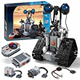 Myste Technik Roboter Bausatz mit Augenlichtern, 408 Klemmbausteine Ferngesteuert Roboter Einstellbarer Halswinkel RC Roboter Bausteine Spielzeug STEM Lernspielzeug, Kompatibel mit Lego