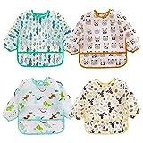 Baby Mädchen Lätzchen Wasserdicht Langarm T-Shirt Lätzchen Soft Dressing-Kleidung für Baby Jungen Kleinkinder