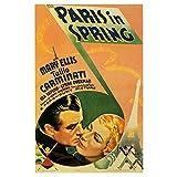Chifang Paris im Frühling Musicals Klassische Vintage Werbefilm Poster Leinwand Gemälde Vintage Wandposter Wohnkultur Geschenk-50x75 cm x1 Ohne Rahmen