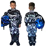 XTRM Kinder Kart Anzug Camo grau Motorrad Kids MX Quad Offroad Go-Kart Enduro ATV Fahrrad Sport Racing EIN Stück Tragen (YM (5-6yrs))
