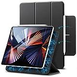 ESR Hülle kompatibel mit iPad Pro 12.9 2021/2020 (5/4.Generation), praktischer Magnetverschluss [Unterstützt Apple Pencil Koppeln & Laden] Trifold Standhülle, Auto Schlaf-/Weckfunktion - Schwarz