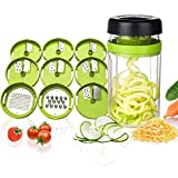 Adoric Gemüse Spiralschneider, 9 in 1 Gemüseschneider mit Behälter, Hand Gemüse Spirallschneider Gemüsehobel Schneider Für Gemüsespaghetti, Gurke, Kürbis, Zucchini