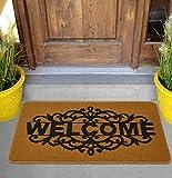 CGJ Fußmatte Außenbereich Innenbereich Hausmatte rutschfeste, waschbare, Teppiche für Eingangstüren, Küche, Wohnung und Büro (61 x 94 cm, Royal Sand Welcome)