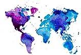 NLLeZ 1 stück Aquarell Weltkarte Poster und Drucke Wandkunst Leinwand Malerei Abstraktes Bild Für Wohnzimmer Wohnkultur Ungerahmt (Farbe : DM390 1, Größe : 40X50cm Unframed)