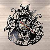 SHILLPS Wanduhr mit Totenkopf-Dorn, Rose, lautlose Quarz-Wanduhr, Tattoo-Totototenkopf mit Vinyl-Schallplatte, rosafarbene Wanduhr im Gothic-Stil, Wanddekoration ohne LED
