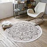SHACOS Vintage Teppich Rund 120cm Grau Baumwollteppich Waschbar Groß Mandala Teppiche Wohnzimmer S