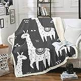 Tbrand Lama Alpaka Decke 220x240cm Niedliches Lama Wohndecke für Kinder 3D Tier Thema Kuscheldecke Südamerikanische Tiere Drucken Schwarz Weiß Design