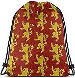 KINGAM Geschenkbeutel, Lannister-Wappen, Turnbeutel für Damen und Herren, Kordelzug-Rucksack mit Taschen, wasserdicht, Nylonschnur, großer Sack