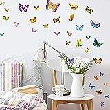 WandSticker4U®- 100 Bunte Schmetterlinge zum Kleben I Wandtattoo Butterfly Dekoration Frühling Wandaufkleber Kinder Baby Basteln I Wand Deko für Kinderzimmer Möbel Fenster Sticker