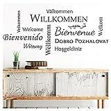 Grandora Wandtattoo Willkommen I schwarz (BXH) 132 x 58 cm I Sprachen international Flur Diele Wohnzimmer Sticker Aufkleber Wandaufkleber Wandsticker W5092