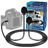 Vidpro XM-DLC Doppelkopf-Interview-Lavalier-Mikrofon für DSLR-Kameras und C