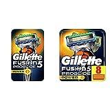Gillette Fusion 5 ProGlide Power Rasierer Herren mit Trimmerklinge für Präzision und Gleitbeschichtung, Rasierer + 1 Rasierklinge & Fusion 5 ProGlide Power Rasierklingen Für Männer 8 Stück