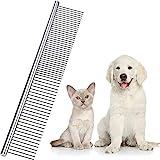 Edelstahl Haustier Kamm Haustierpflege Kamm Abgerundet Zähne Hunde Kamm für Große, Mittlere und Kleine Hunde und Katzen mit Verworrenen Kurzen/ Langen Haaren (19 x 3 cm)