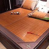 QLIGHA Summer Cooling Mattress Pad Doppelseitige Schlafmatte mit Kissenbezug Faltbare Bio-Matratze für das Bett, Sommer Bambus Strohmatte Matratzenschutz