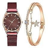 XULIM 【2021 spätestens】 Damen Armbanduhr mit Armreif Armbänder Zweiteiliger Anzug Damenuhr Uhr Minimalistisch Quartz Uhr Mode Damen Uhren Geschäftsquarzuhr Business Quarzuhr für Frauen Gules