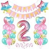 Luftballon 2 Geburtstag Rosa, Geburtstagsdeko 2 Jahr Mädchen, Riesen Folienballon 2 Rosa, Deko 2 Geburtstag Mädchen, Ballon 2 Deko zum Geburtstag, Bunt Folienzahlen Ballons 2, Banner