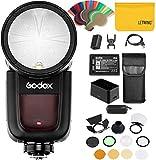 Godox V1-N TTL On-Kamera Runde Kamerablitz-Blitzgerät mit Godox AK-R1 Flash-Kit kompatibel für Nik
