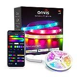 Onvis LED Strip 5M,Smart RGB LED Streifen,App-steuerung,Farbwechsel,Musik Sync,Funktioniert mit Apple HomeKit Siri Alexa Google,RGB Led Light Strips für Schlafzimmer,Küche,TV,Party